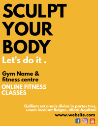 fitness yellow background flyer template desi