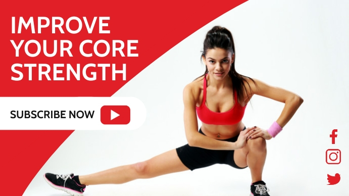 fitness youtube thumbnail design template red YouTube-thumbnail