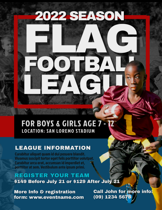 flag football flyer templates postermywall