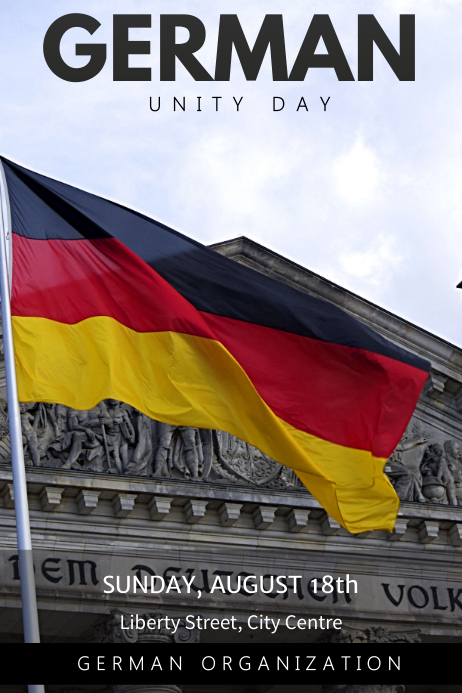 Flag Hoisting Germany Unity Day Poster Template