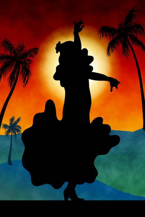 flamenco dancer an sunset with palm trees