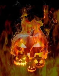 Flaming Pumpkin Background