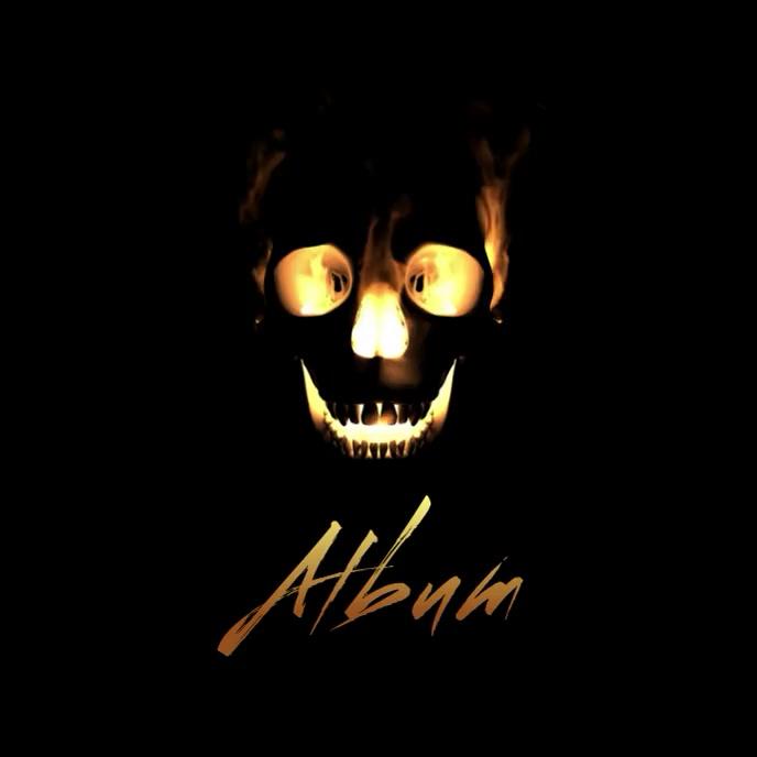 Flaming Skull album cover video template