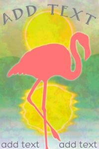 flamingo bird silhouette standing with sun landscape scene