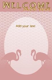 Flamingo birds in pink template