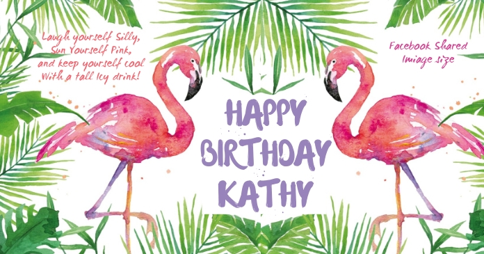Flamingo Birthday Facebook Shared Image template