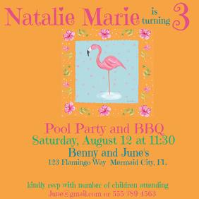 Flamingo Birthday Square