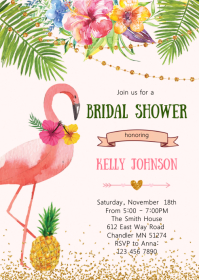 Flamingo bridal shower invitation A6 template