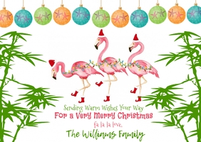 Flamingo Christmas Postcard