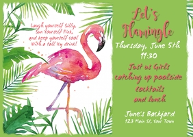 Flamingo Invitation Facebook Briefkaart template