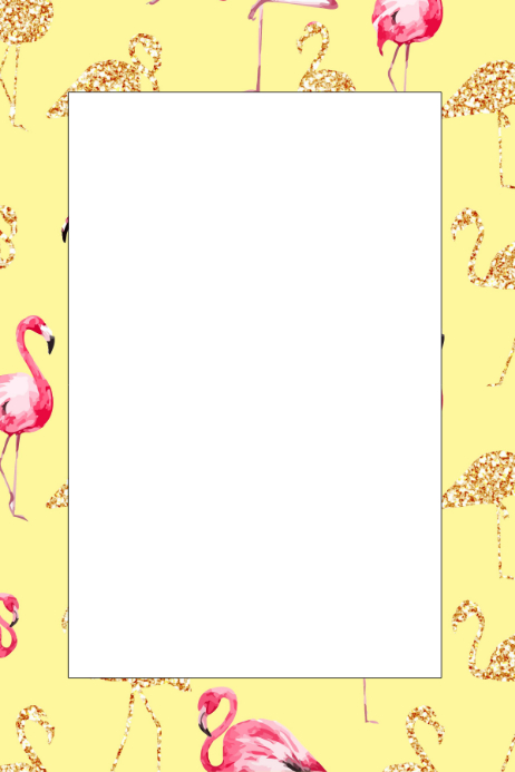 flamingo party prop frame template postermywall