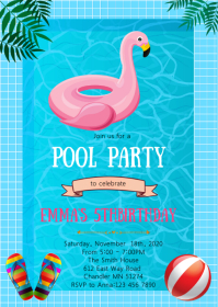 Flamingo pool birthday party invitation
