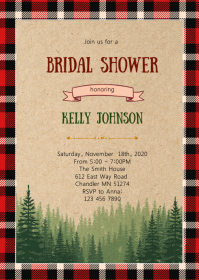 Flannel lumberjack theme invitation A6 template