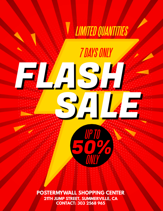flash sale flyer template postermywall