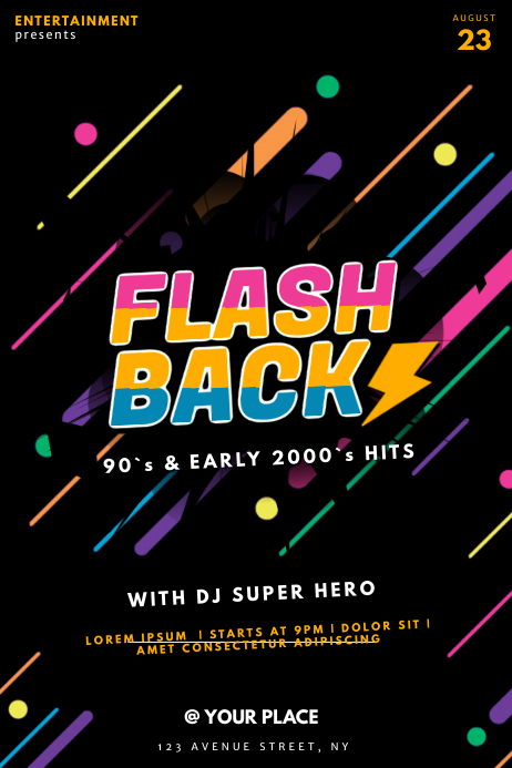 Flashback retro Party Club Template Плакат