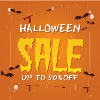 Flat halloween sale concept Instagram Post template