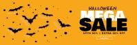 Flat style halloween mega sale yellow banner Spanduk 2' × 6' template