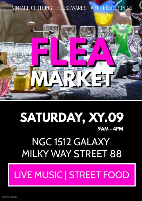 Flea Market Garage Sale Auction Poster Flyer A4 template