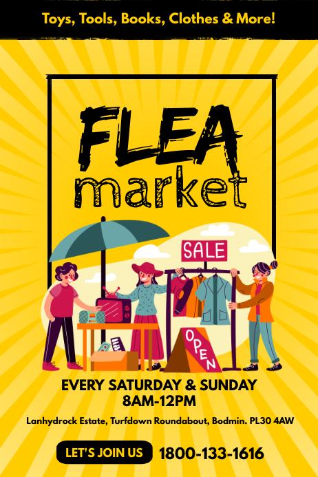 Flea Market Poster Flyer Template Affiche