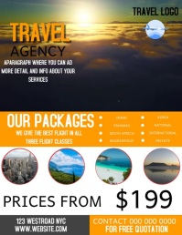 FLIGHT TRAVEL AGENCY FLYER VIDEO TEMPLATE Volantino (US Letter)