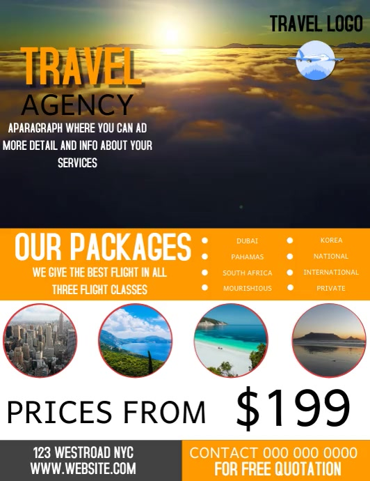 FLIGHT TRAVEL AGENCY FLYER VIDEO TEMPLATE