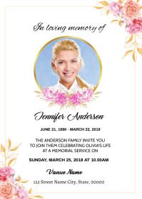 Flora Funeral Announcement Card A6 template