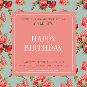 Floral 1st Birthday Instagram Template