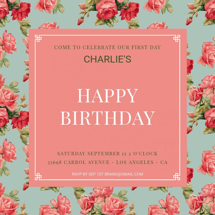 Floral 1st Birthday Instagram Template