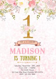 Floral 1st birthday invitation
