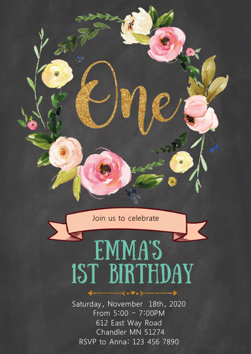 Floral 1st birthday party invitation
