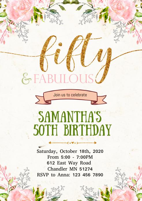 Floral 50th birthday invitation