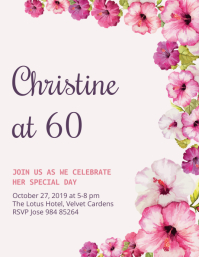 Floral 60th Birthday Flyer Template