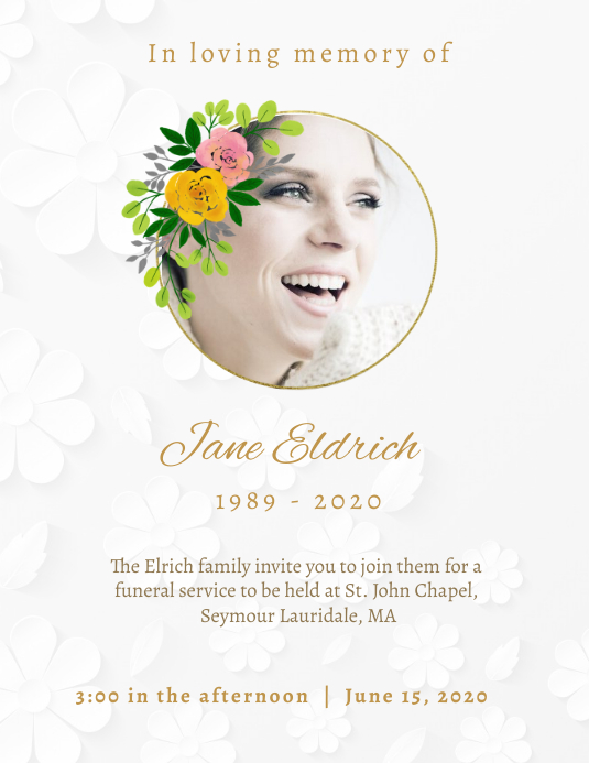 Floral and minimalistic obituary flyer templa template