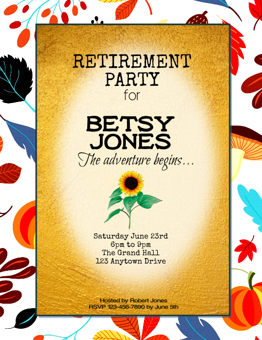 Floral Autumn retirement party Invitation