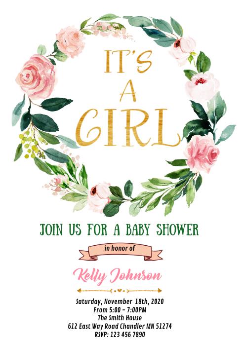 Floral baby shower birthday invitation