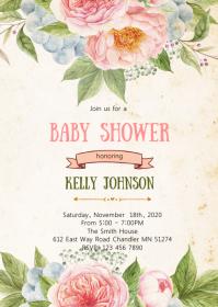 Floral baby shower elephant invitation