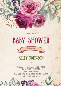 Floral baby shower party invitation