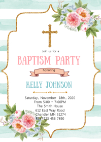 Floral baptism party invitation