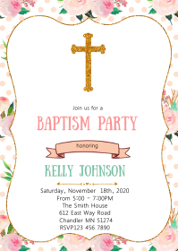 Floral baptism party invitation A6 template
