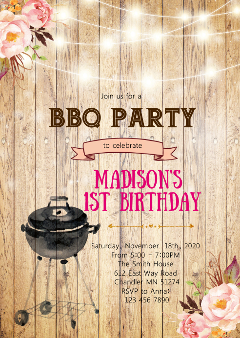 Floral bbq birthday invitation