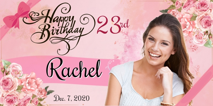 Floral Birthday Rul-op banner 3' × 6' template
