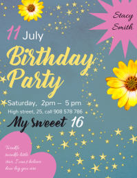 Floral Birthday Invitation Template Flyer (US-Letter)