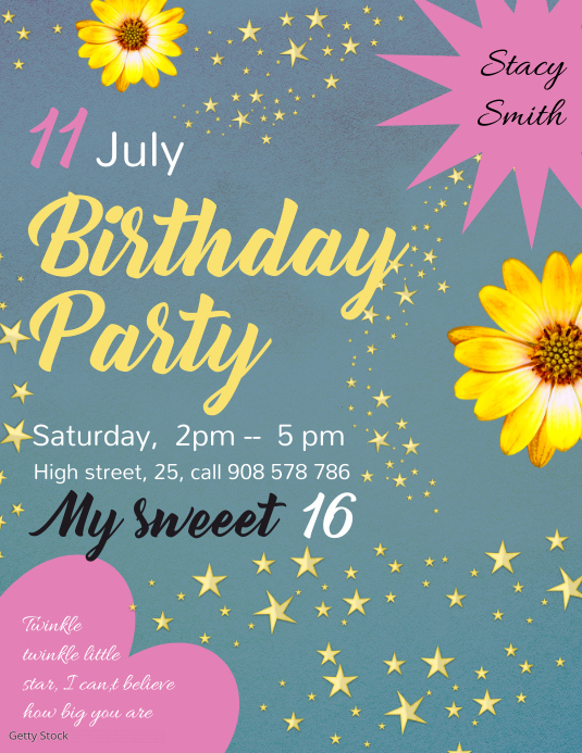 Floral Birthday Invitation Template Postermywall