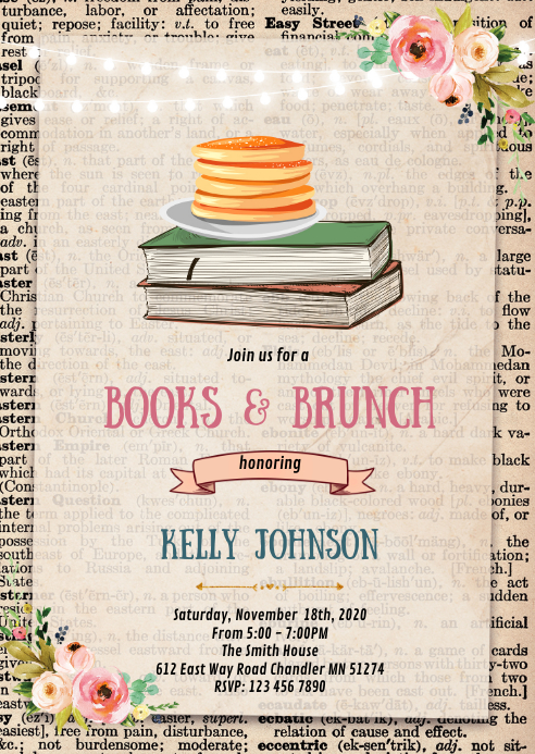 Floral Books and brunch party invitation A6 template