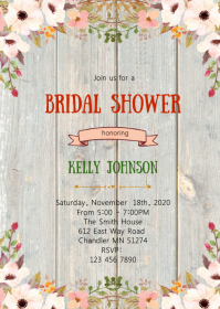 Floral bridal shower invitation