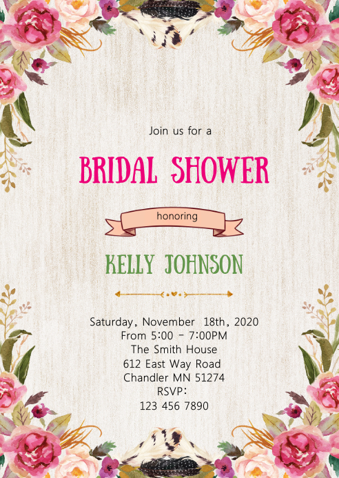 Floral bridal shower invitation A6 template