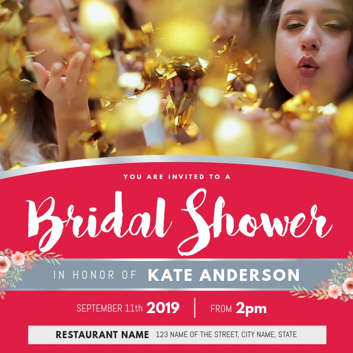 Floral Bridal Shower Invitation Square Video