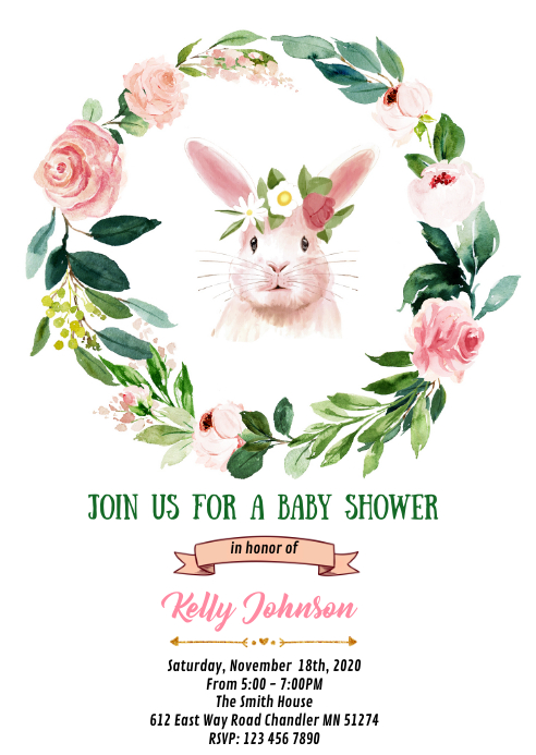 Floral bunny shower birthday invitation