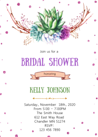 Floral cactus bridal baby shower invitation