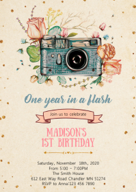 Floral Camera birthday party invitation A6 template